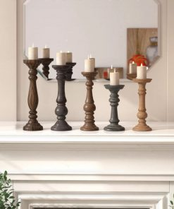 maya rustic 5 piece wood candelabra set