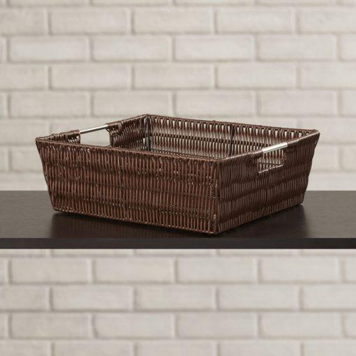 mayfair brown chrome rod frame wicker basket
