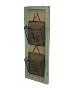 miena rustic wire wall storage organizer with baskets