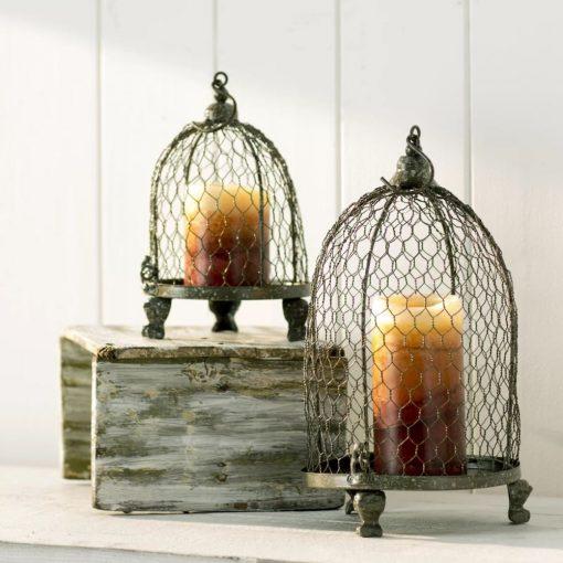 mila gray wire 2 piece lantern set