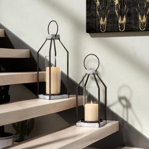 milo 2 piece galvanized base metal frame lantern set