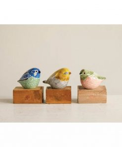 mina colorful stoneware hand painted bird 3 piece figurine set