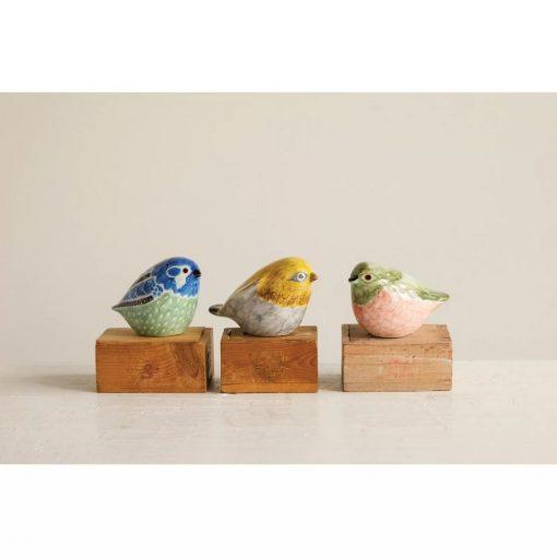 mina colorful stoneware hand painted bird 3 piece figurine set