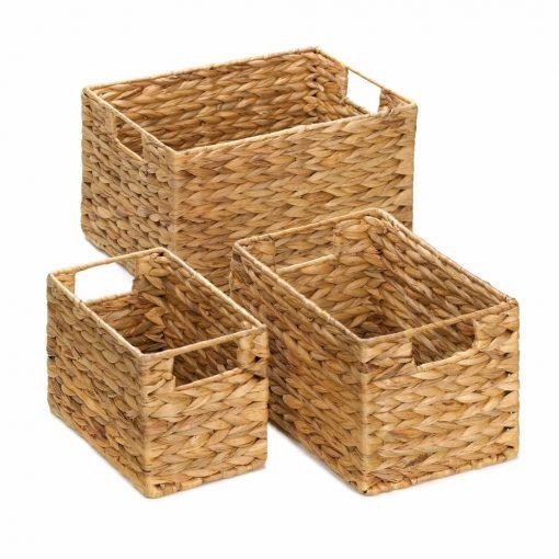 mirage 3 piece beige husk nesting wicker basket set
