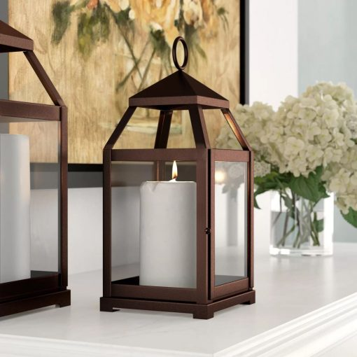 mireille contemporary metal frame with glass panes iron lantern