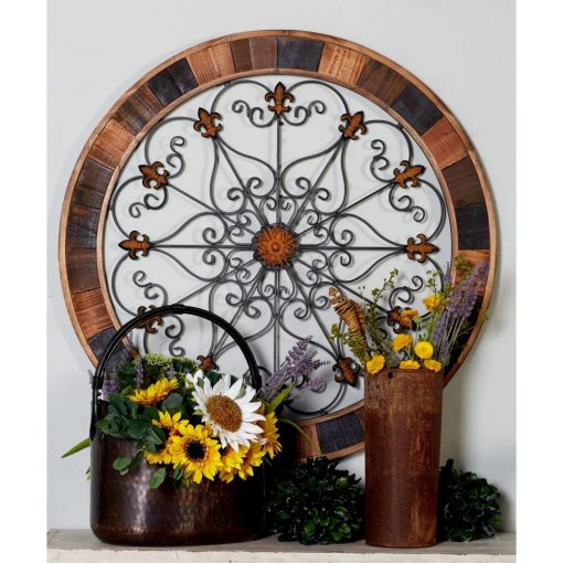 mireille rustic elegance metal and wood wall décor