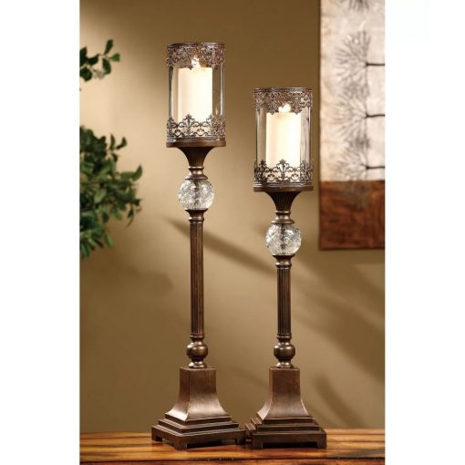 mitra regency bronze traditions 2 piece metal candlestick set