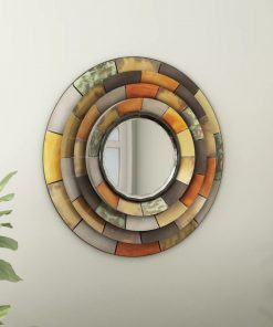 mollie multi colored round galvanized metallic wall mirror