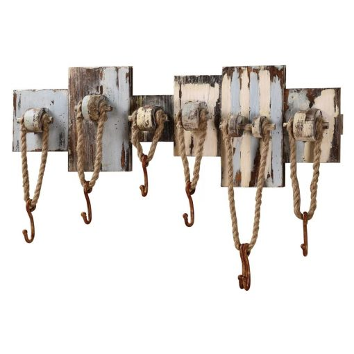monrow including 1 bar 6 ropes and 7 hooks wood wall décor