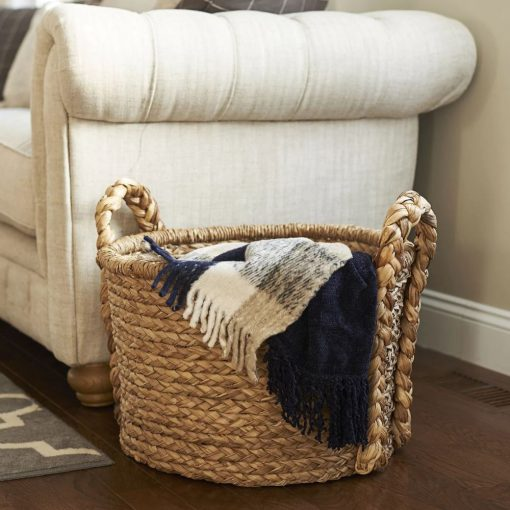 montauk handwoven floor wicker basket with 2 thick handles