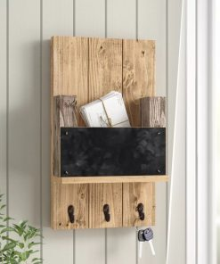 monty wood mail holder with chalkboard and hooks