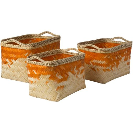 morgan 3 piece bamboo wicker stackable basket set