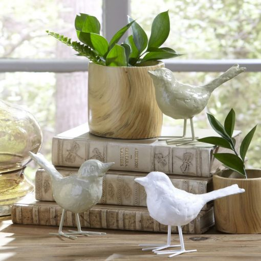 morgana 3 piece resin flock bird decor fingurine set