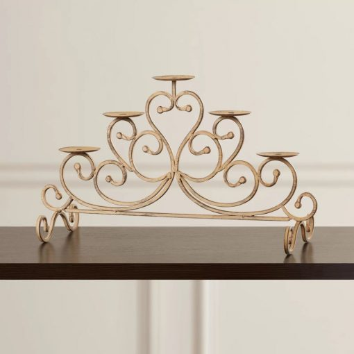 naomi antique gold 5 tealight candles iron candelabra