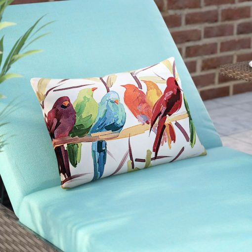 nicole flocked together birds indoor or outdoor lumbar pillow