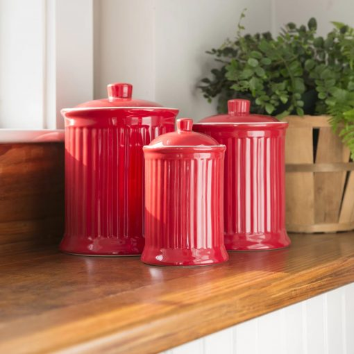 nicolette red ceramic kitchen canister set of