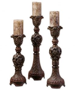 nora distressed metal candlesticks set in distressed walnut brown