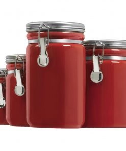 odessa red kitchen canister with a flip top lid set of