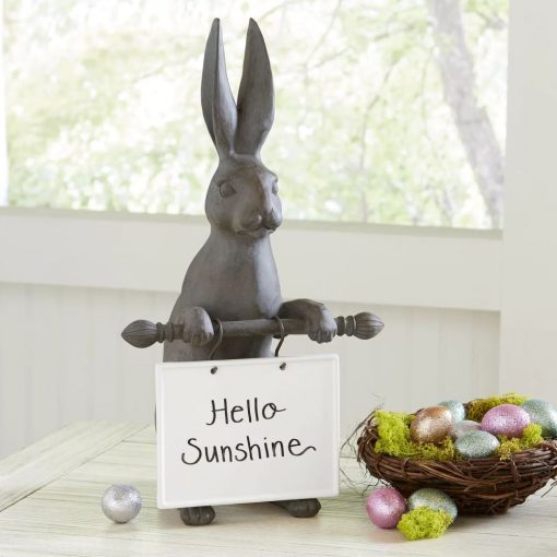 onia resin hare with message figurine tabletop chalkboard