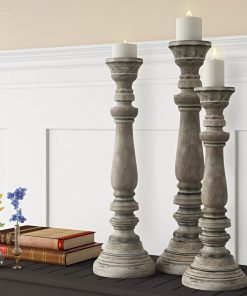 orleans light grey 3 piece wood candlestick set