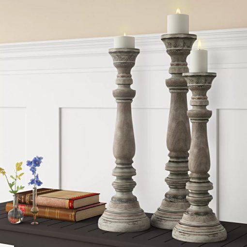 orleans light grey 3 piece wood candlestick set