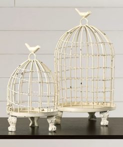 padma distressed 2 piece cream birdcage set
