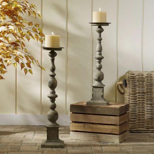 padua 2 piece distressed gray iron candlestick set