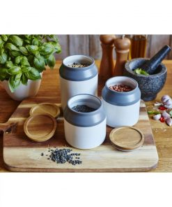 padua ceramic storage jar with wooden lid set of