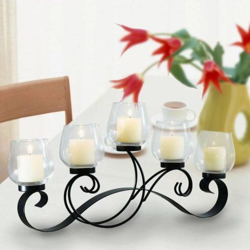 palmizana black vine pattern glass candelabra