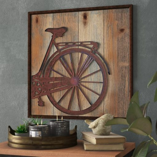 paola rustic square bicycle rear wall décor