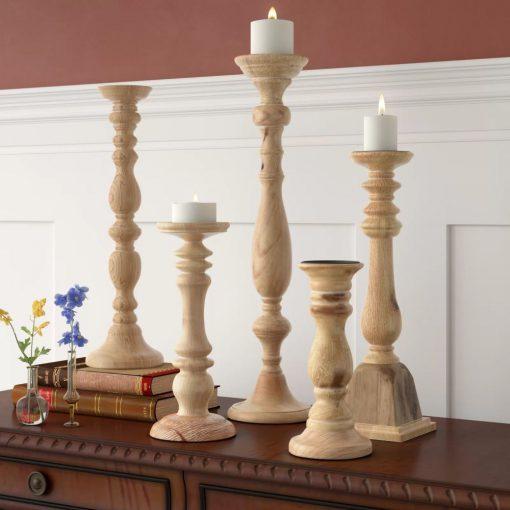 parsons 5 piece mango wood and iron turned candleholder set