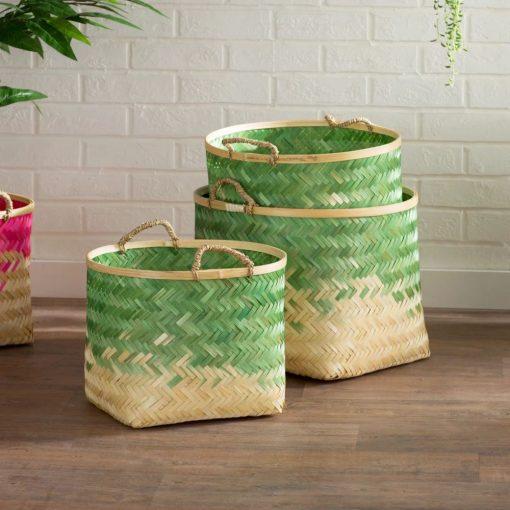 paulina 3 piece bamboo round decorative basket set