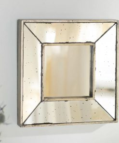 peony square glass wall mirror