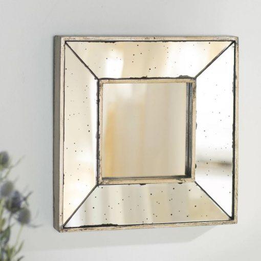peony square glass wall mirror