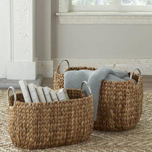 petra brown 2 piece nesting wicker basket set