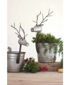 piaf cute metal deer planters set of