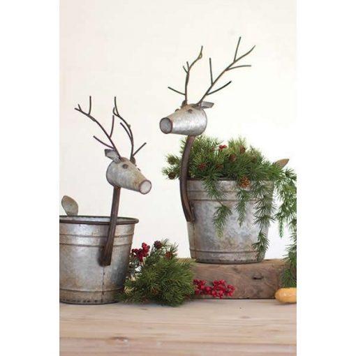piaf cute metal deer planters set of