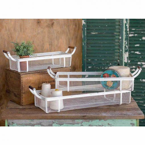 piaf white mesh trays set of