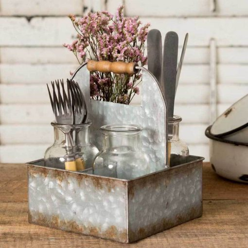 pilcro galvanized metal box caddy with four bottles