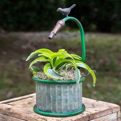 pilcro metal garden hose small round planter