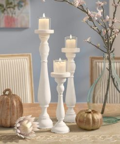 pilcro shabby 3 piece pilaster silhouette candlestick set