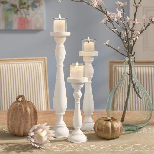 pilcro shabby 3 piece pilaster silhouette candlestick set