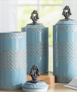 ponce cylinder ceramic kitchen canister set of
