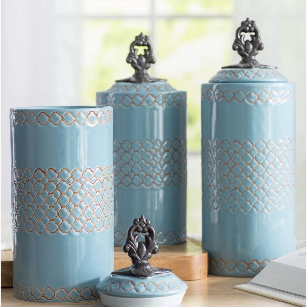 ponce cylinder ceramic kitchen canister set of