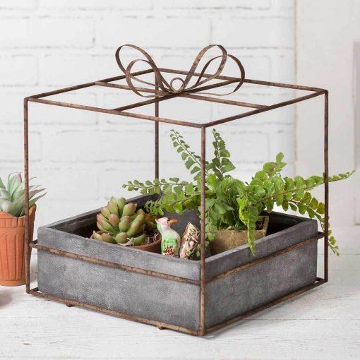 priscilla cube gift box planter with pot
