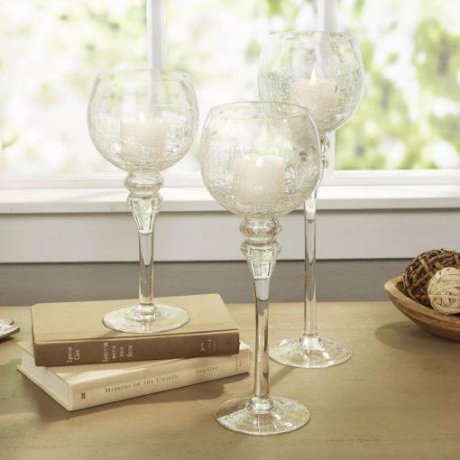 priya 3 piece glass candlestick set