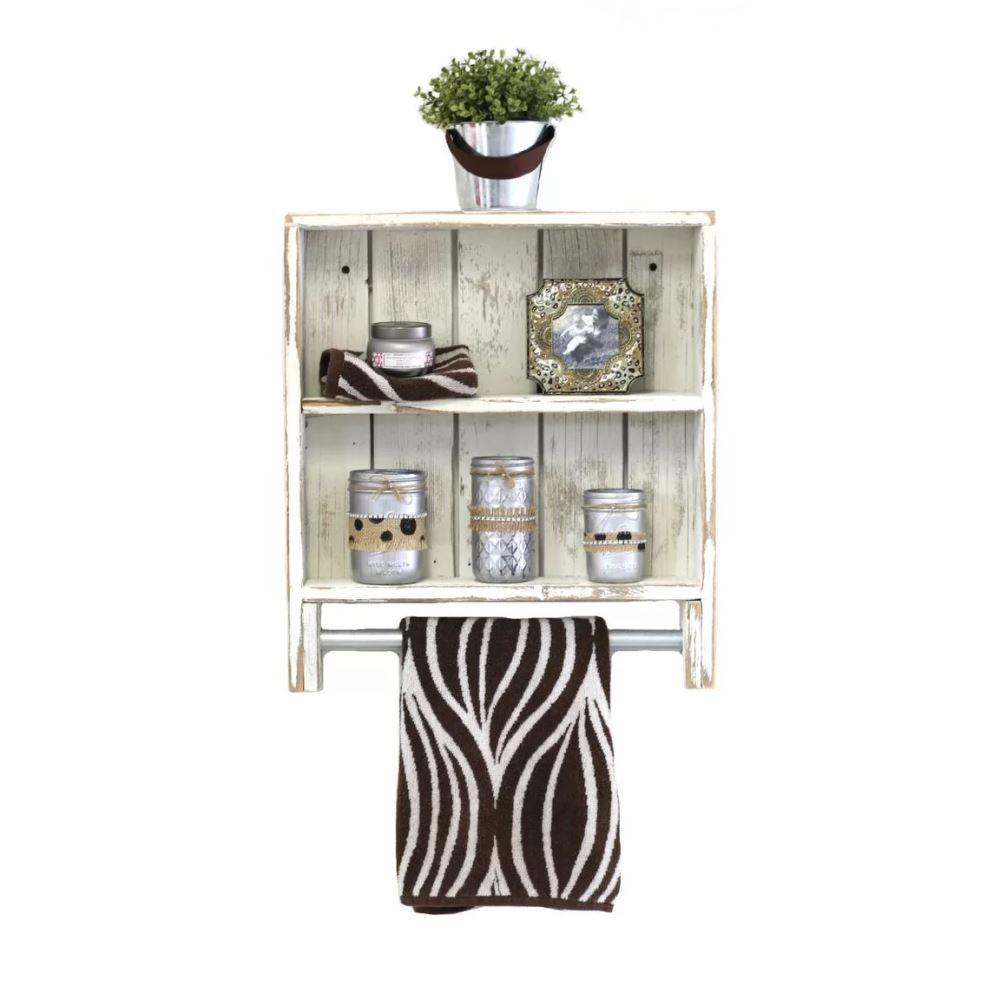 priya rustic double towel rack wall shelf