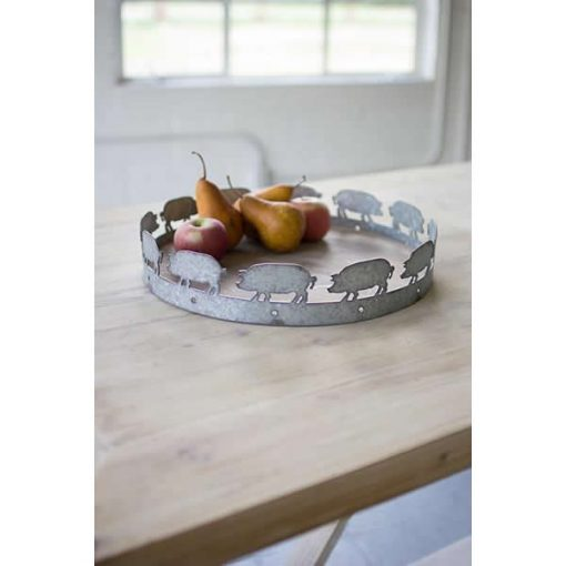 raleigh cute round wood and metal pig tray
