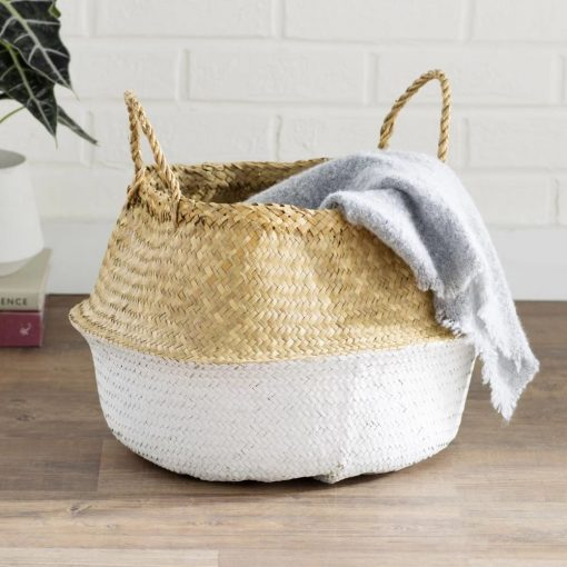 raquela natural and solid color round wicker basket