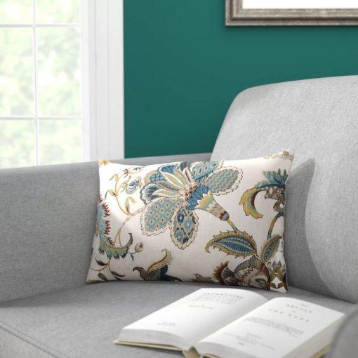 rebekah blue 100 cotton lumbar pillow